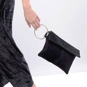 NEW ASOS Genuine Suede Ring Clutch Bag, Black